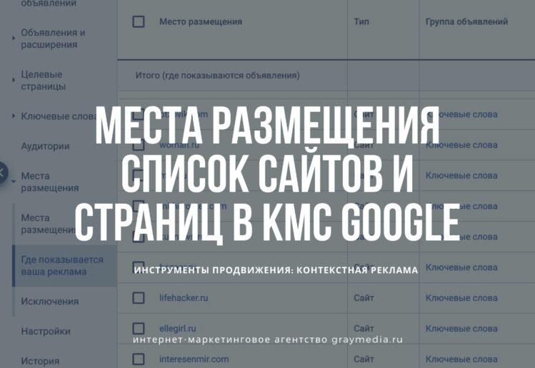 Google ads КМС - места размещения подробный список сайтов страниц URL