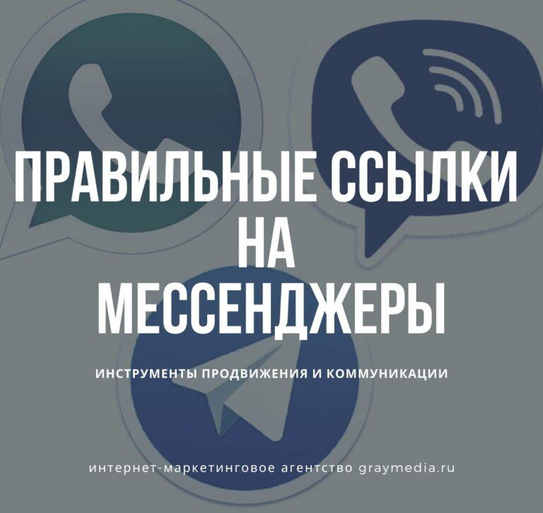 Ссылки на мессенджеры: WhatsApp, Viber, Telegram